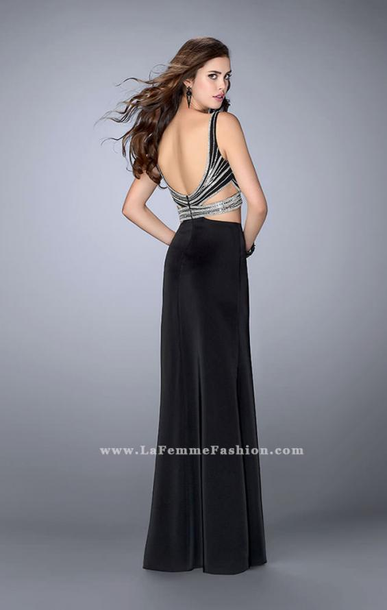 Picture of: Illusion Two Piece Dress with Beaded Top and Fitted Skirt in Black, Style: 23653, Detail Picture 3