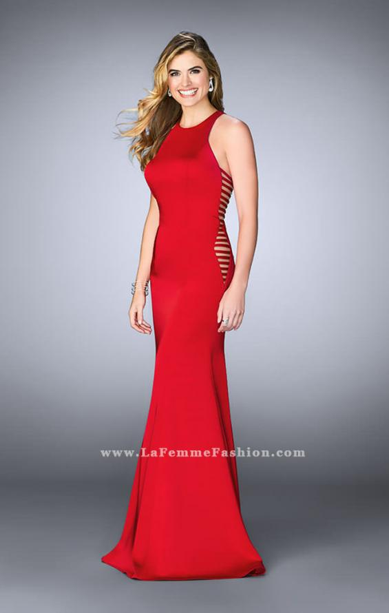 Picture of: Racer Back Jersey Prom Dress with Side Cut Outs, Style: 23665, Detail Picture 3