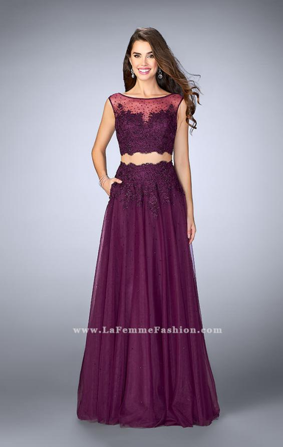 Picture of: Lace Two Piece Dress with a High Neck and Tulle Skirt in Purple, Style: 23666, Main Picture