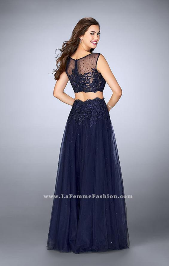 Picture of: Lace Two Piece Dress with a High Neck and Tulle Skirt in Blue, Style: 23666, Back Picture