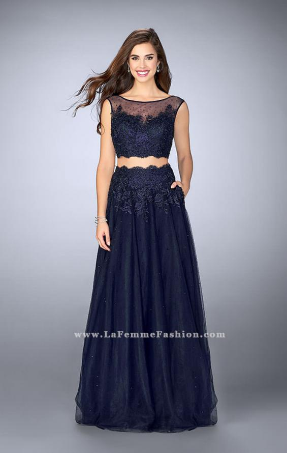 Picture of: Lace Two Piece Dress with a High Neck and Tulle Skirt in Blue, Style: 23666, Detail Picture 1
