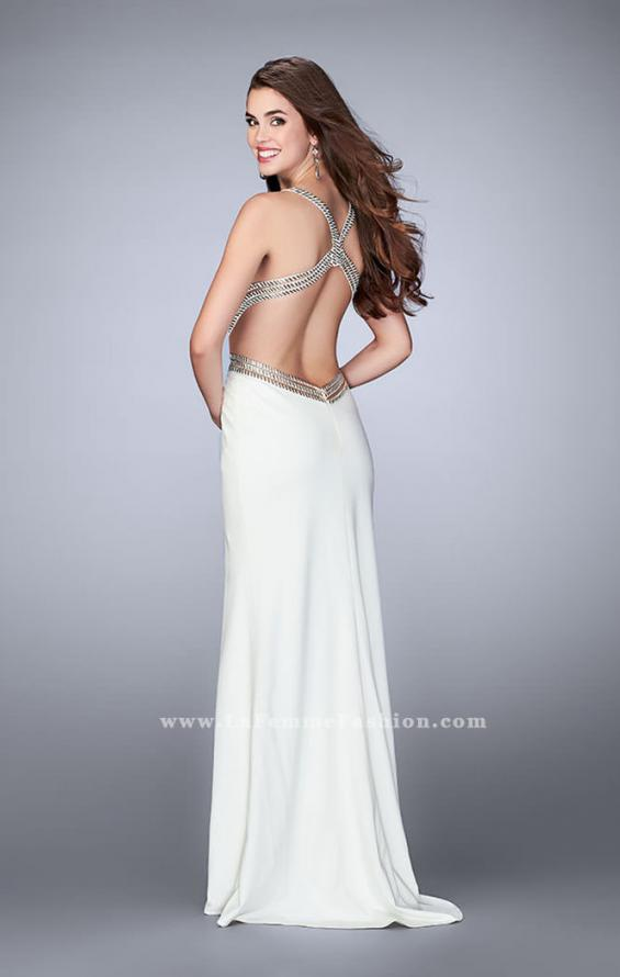Picture of: Fitted Prom Dress with Beaded Straps and Open Back in White, Style: 23683, Back Picture