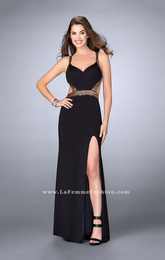 Picture of: Fitted Prom Dress with Beaded Straps and Open Back in Black, Style: 23683, Detail Picture 1