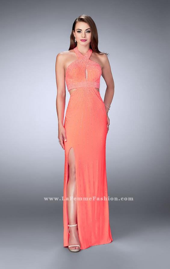 Picture of: Prom Dress with Rhinestones and Racer Back in Orange, Style: 23706, Detail Picture 1
