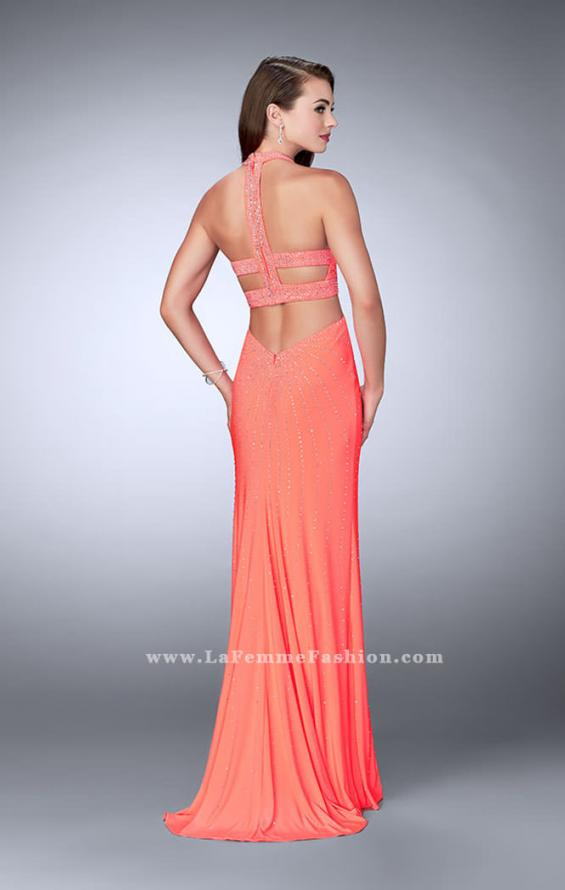 Picture of: Prom Dress with Rhinestones and Racer Back in Orange, Style: 23706, Detail Picture 2