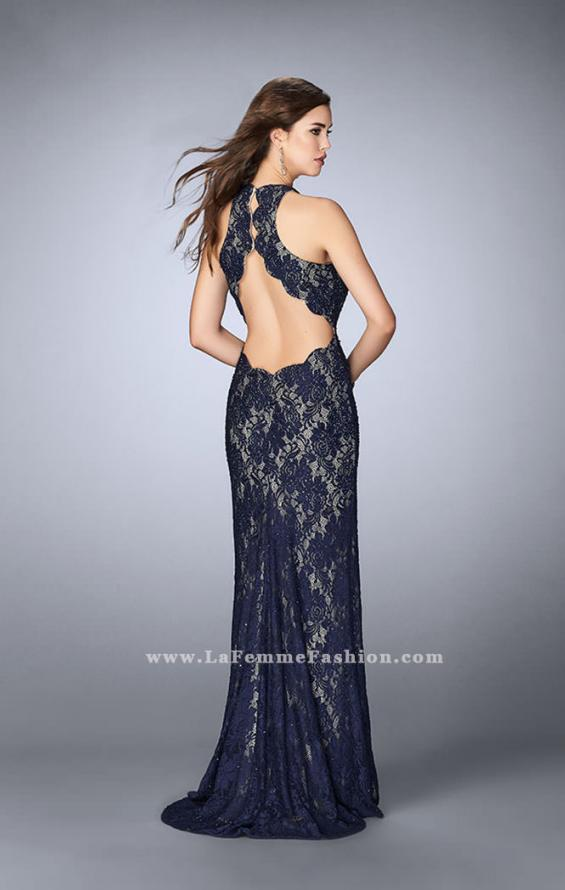 Picture of: High Neck Lace Dress with Scalloped Back and Slit in Blue, Style: 23708, Back Picture