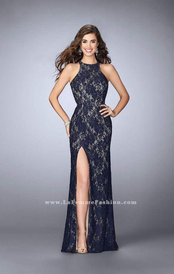 Picture of: High Neck Lace Dress with Scalloped Back and Slit in Blue, Style: 23708, Detail Picture 1