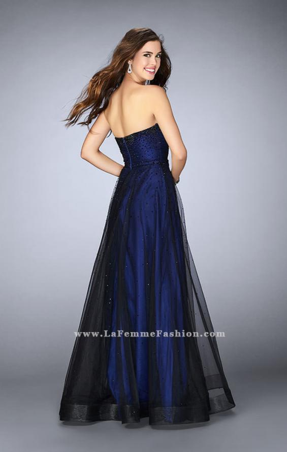 Picture of: Strapless Dress with Rhinestones and a Tulle Overlay in Blue, Style: 23723, Back Picture
