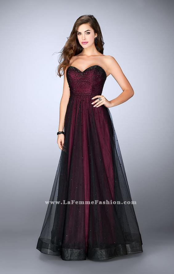 Picture of: Strapless Dress with Rhinestones and a Tulle Overlay in Red, Style: 23723, Detail Picture 1