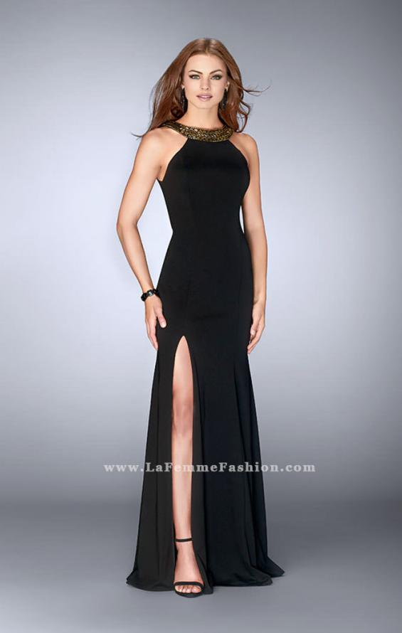 Picture of: High Neck Jersey Dress with Beading and Open Back in Black, Style: 23737, Main Picture