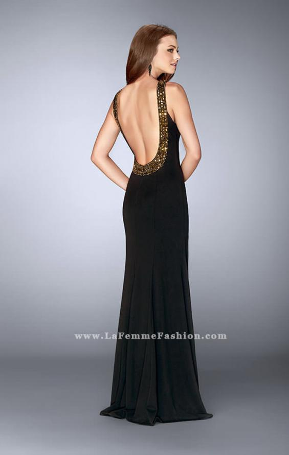 Picture of: High Neck Jersey Dress with Beading and Open Back in Black, Style: 23737, Back Picture