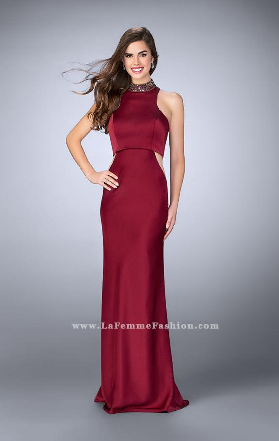 Picture of: High Collar Jersey Prom Dress with Faux Crop Top in Red, Style: 23750, Main Picture