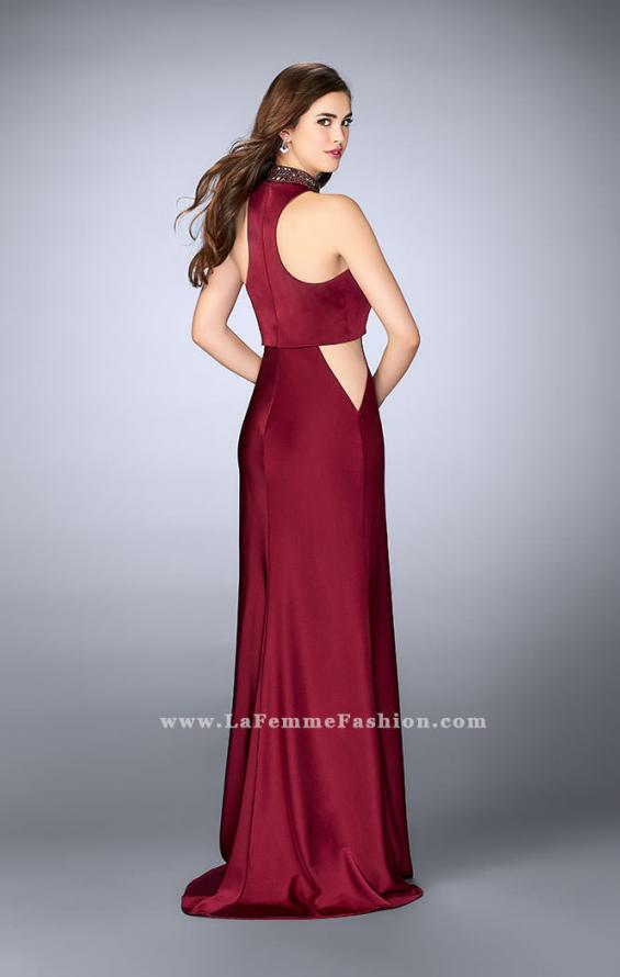 Picture of: High Collar Jersey Prom Dress with Faux Crop Top in Red, Style: 23750, Back Picture