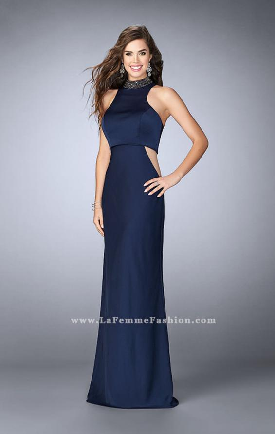 Picture of: High Collar Jersey Prom Dress with Faux Crop Top in Blue, Style: 23750, Detail Picture 1