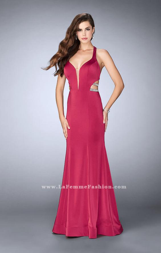 Picture of: Long Mermaid Dress with Beaded Strappy Back in Pink, Style: 23755, Main Picture