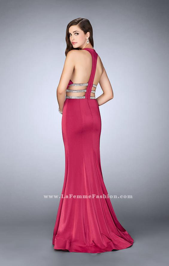 Picture of: Long Mermaid Dress with Beaded Strappy Back in Pink, Style: 23755, Back Picture