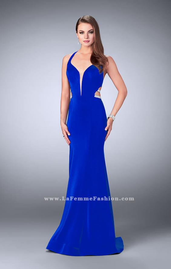 Picture of: Long Mermaid Dress with Beaded Strappy Back in Blue, Style: 23755, Detail Picture 1