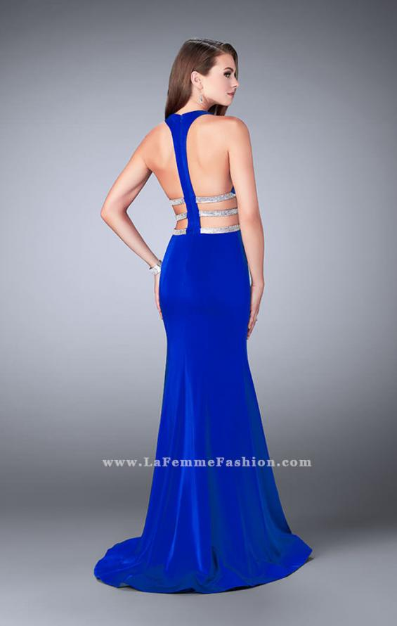 Picture of: Long Mermaid Dress with Beaded Strappy Back in Blue, Style: 23755, Detail Picture 2