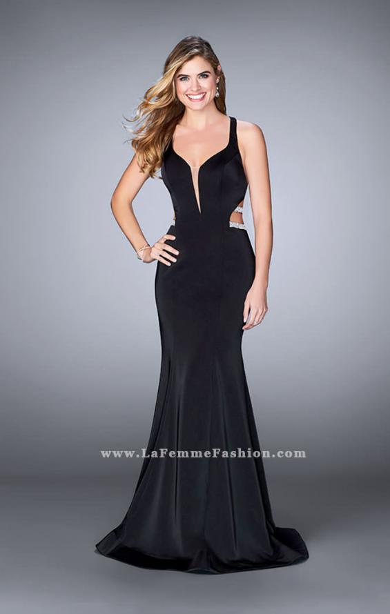 Picture of: Long Mermaid Dress with Beaded Strappy Back in Black, Style: 23755, Detail Picture 3