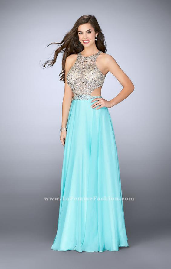 Picture of: High Neck A-line Dress with Sheer Beaded Top in Blue, Style: 23760, Main Picture