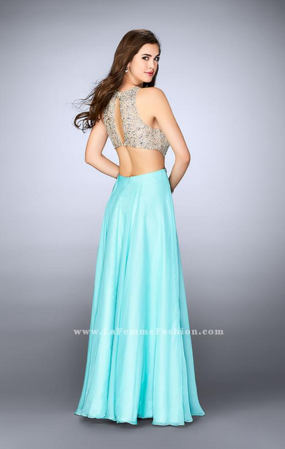 Picture of: High Neck A-line Dress with Sheer Beaded Top in Blue, Style: 23760, Back Picture