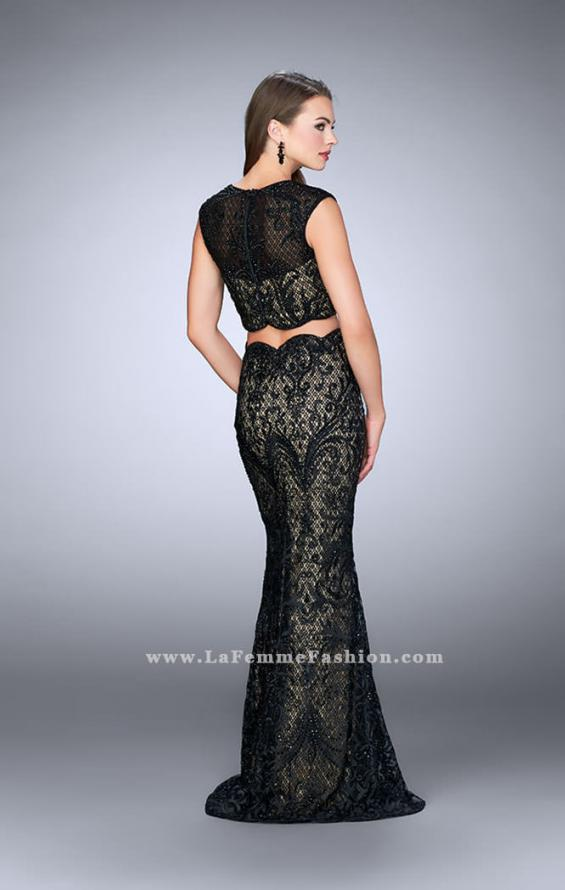Picture of: Two Piece Dress with Scalloped Edges and Cap Sleeves in Black, Style: 23766, Back Picture