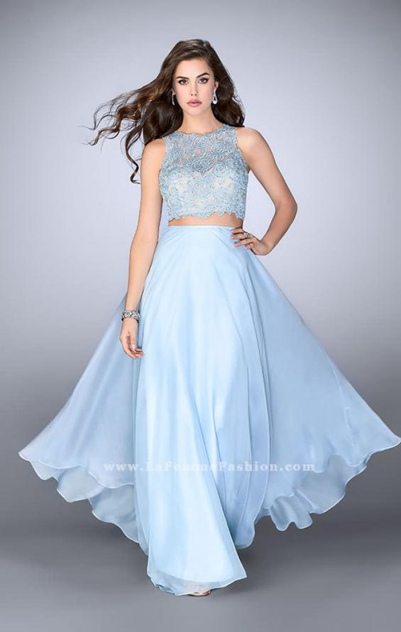 Picture of: Two Piece Prom Dress with A-line Skirt and Lace in Blue, Style: 23775, Main Picture