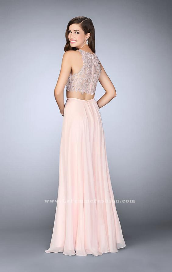 Picture of: Two Piece Prom Dress with A-line Skirt and Lace in Pink, Style: 23775, Back Picture