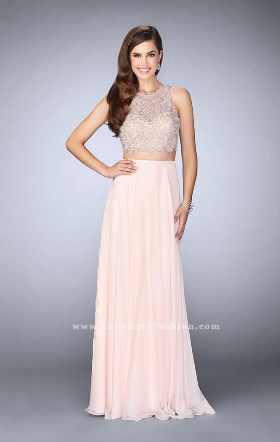 Picture of: Two Piece Prom Dress with A-line Skirt and Lace in Pink, Style: 23775, Detail Picture 1