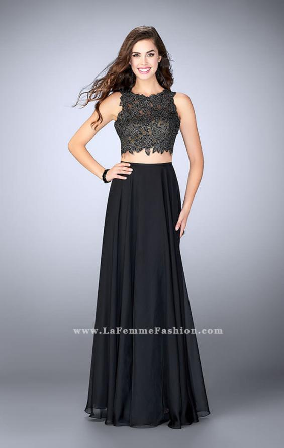 Picture of: Two Piece Prom Dress with A-line Skirt and Lace in Black, Style: 23775, Detail Picture 2
