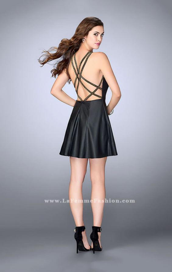 Picture of: Short Leather Dress with Flared Skirt and High Neck in Black, Style: 23790, Back Picture