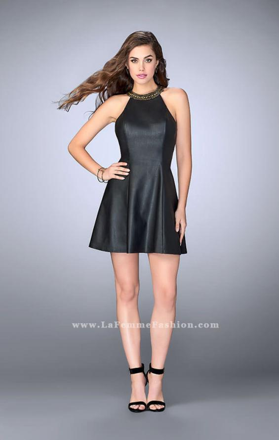 Picture of: Short Leather Dress with Flared Skirt and High Neck in Black, Style: 23790, Detail Picture 1
