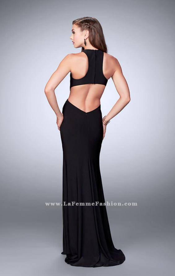 Picture of: Jersey Prom Dress with Gold Beading and Racer Back, Style: 23791, Back Picture