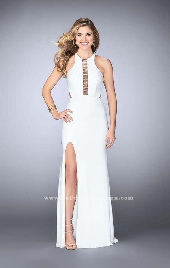 Picture of: Jersey Prom Dress with Gold Beading and Racer Back, Style: 23791, Detail Picture 1
