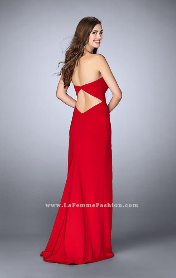 Picture of: Strapless Jersey Dress with a Deep V Neckline and Slit, Style: 23816, Back Picture