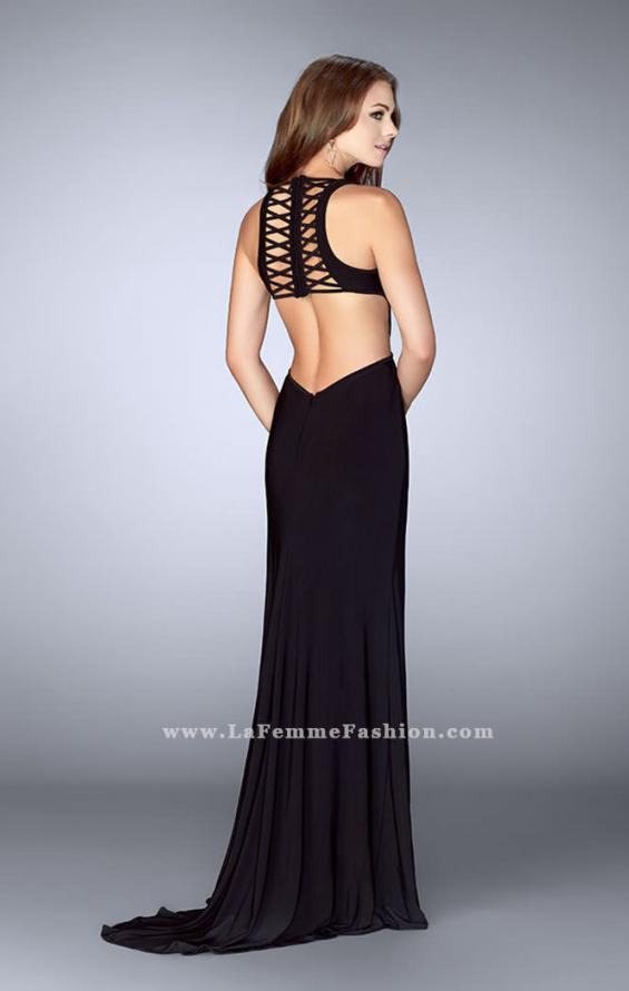 Picture of: Fitted jersey dress with a lace up front and back, Style: 23823, Back Picture