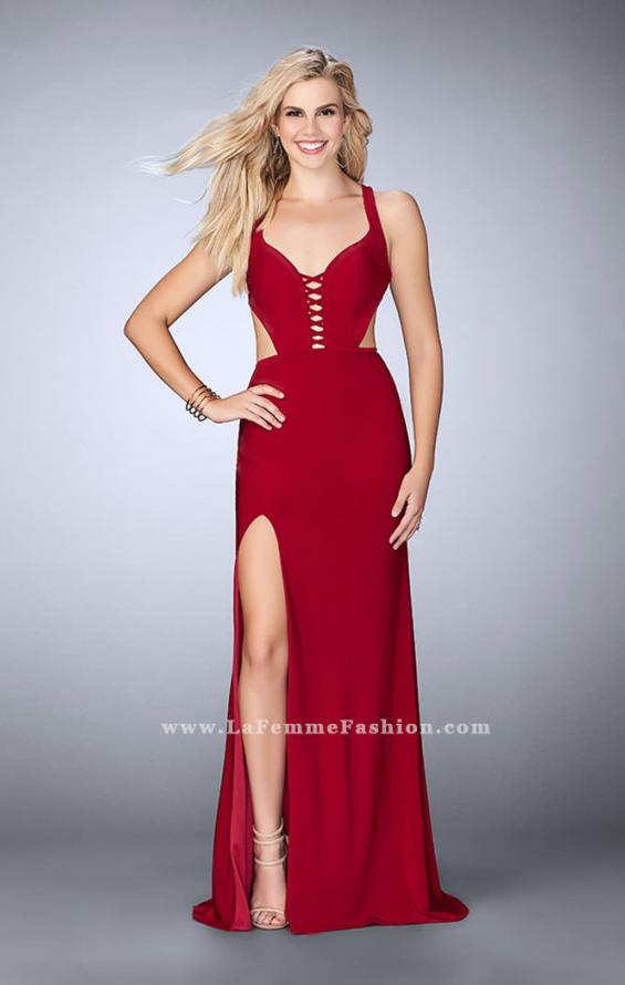 Picture of: Fitted jersey dress with a lace up front and back, Style: 23823, Detail Picture 1