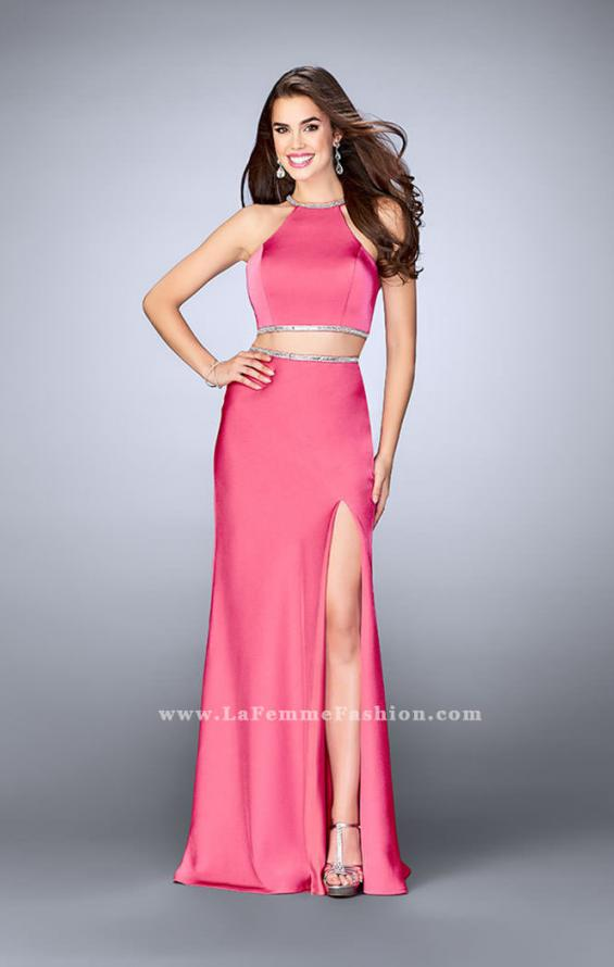 Picture of: Two Piece Dress with Beaded Edges and Sheer Cut Outs in Pink, Style: 23828, Main Picture