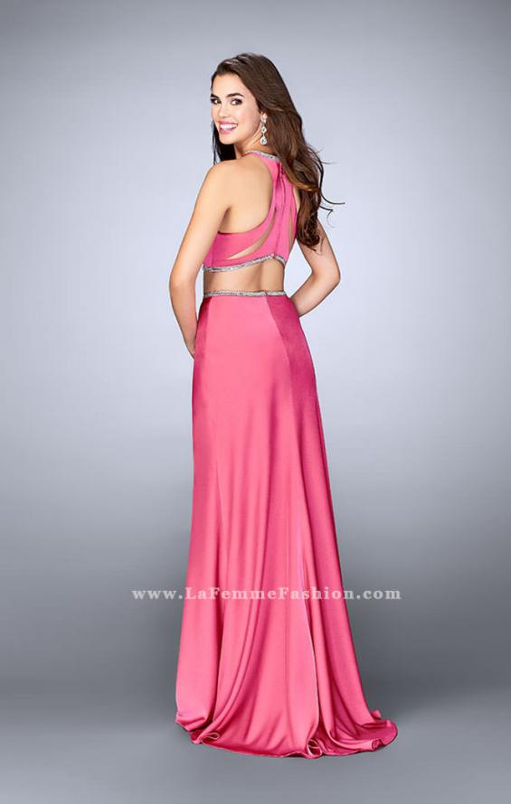 Picture of: Two Piece Dress with Beaded Edges and Sheer Cut Outs in Pinki, Style: 23828, Back Picture