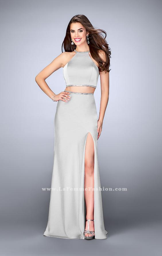 Picture of: Two Piece Dress with Beaded Edges and Sheer Cut Outs in Silver, Style: 23828, Detail Picture 2