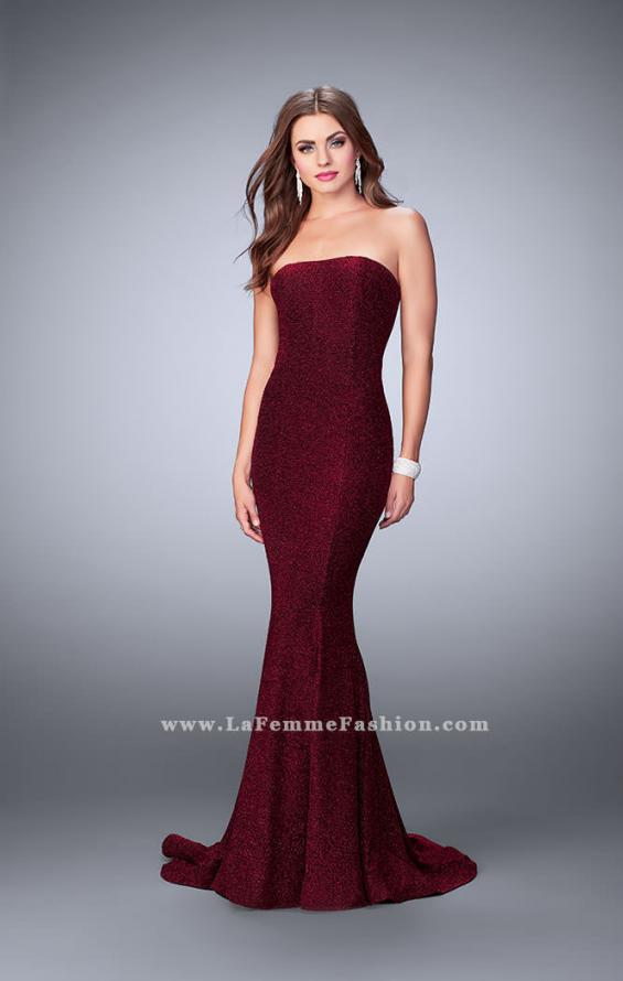 Picture of: Long Strapless Sparkly Prom Jersey Dress with Train in Red, Style: 23834, Main Picture