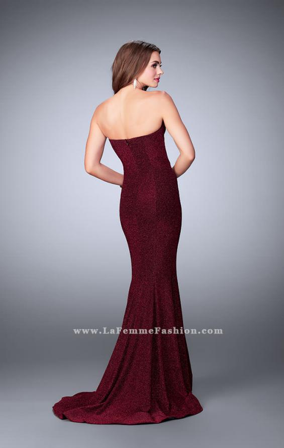 Picture of: Long Strapless Sparkly Prom Jersey Dress with Train in Red, Style: 23834, Back Picture