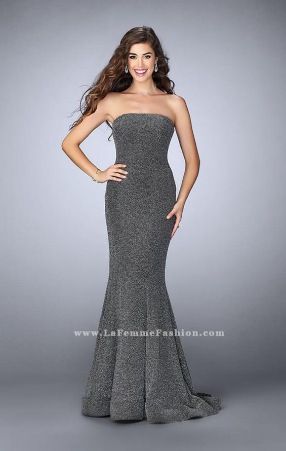 Picture of: Long Strapless Sparkly Prom Jersey Dress with Train in Silver, Style: 23834, Detail Picture 2