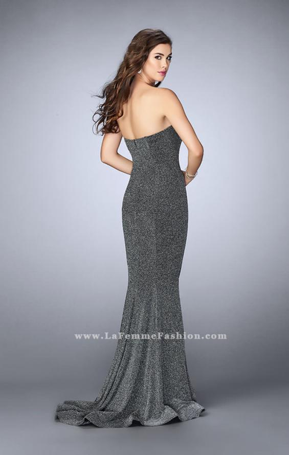 Picture of: Long Strapless Sparkly Prom Jersey Dress with Train in Silver, Style: 23834, Detail Picture 3