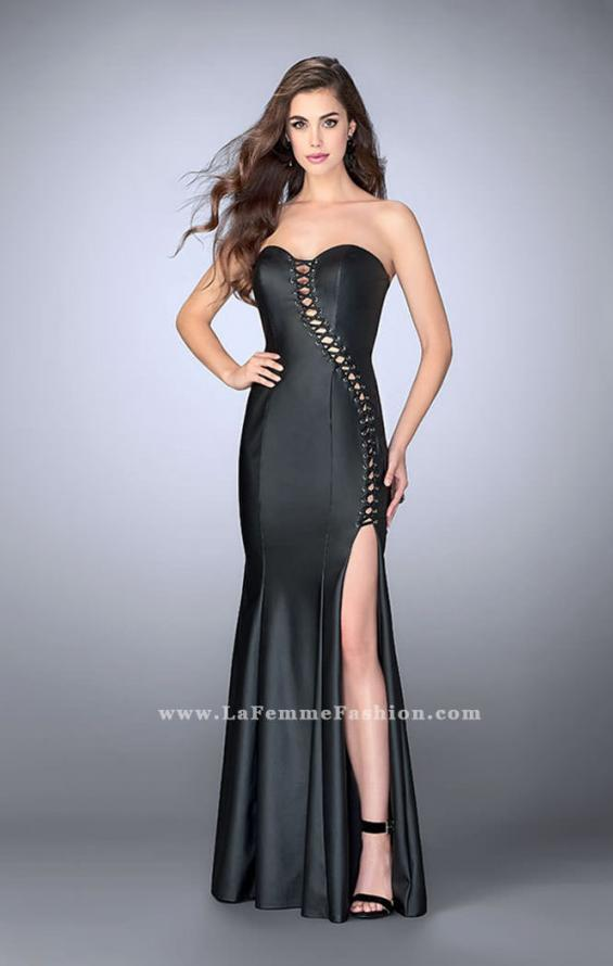 Picture of: Strapless Vegan Leather Dress with Lace Up Top in Black, Style: 23835, Main Picture