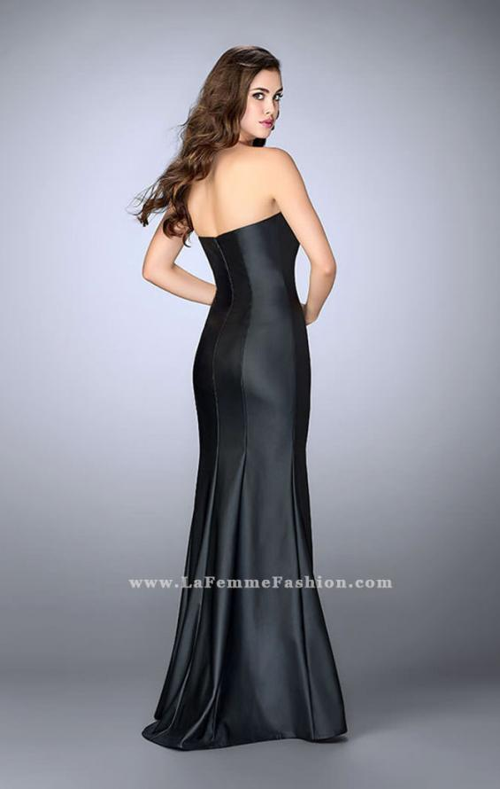 Picture of: Strapless Vegan Leather Dress with Lace Up Top in Black, Style: 23835, Back Picture