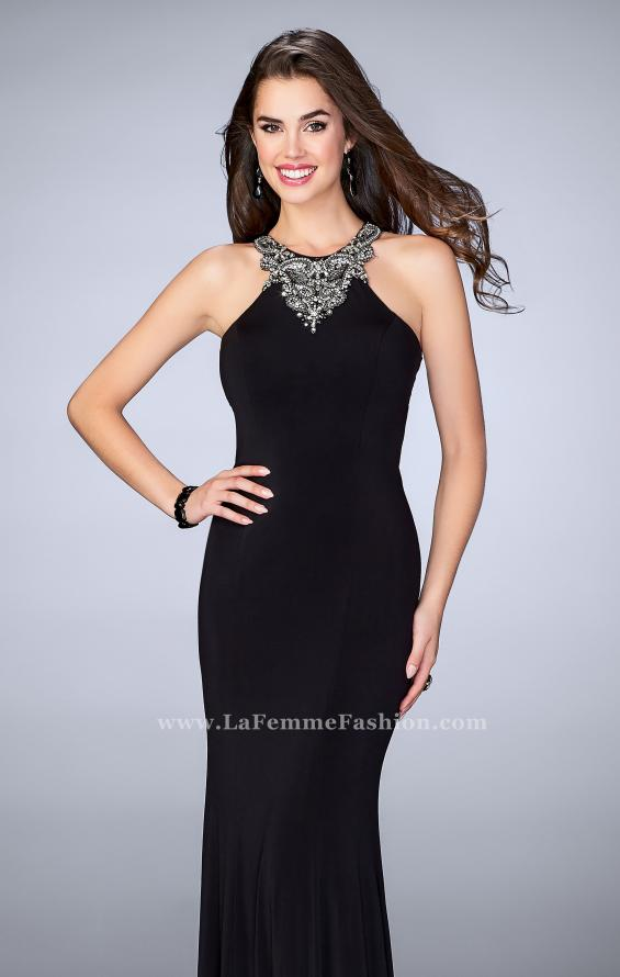 Picture of: Jersey Prom Dress with Beaded Neckline and Open Back in Black, Style: 23850, Main Picture
