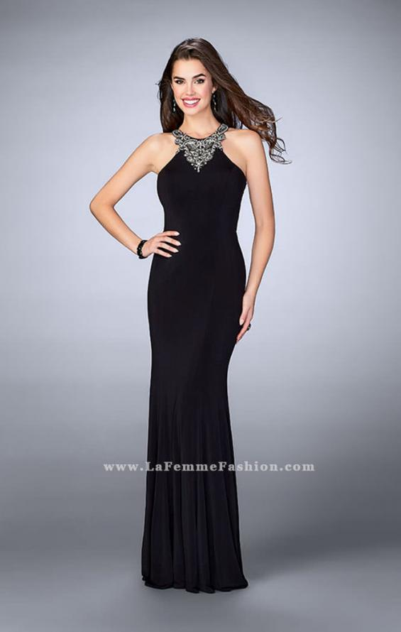 Picture of: Jersey Prom Dress with Beaded Neckline and Open Back in Black, Style: 23850, Detail Picture 1