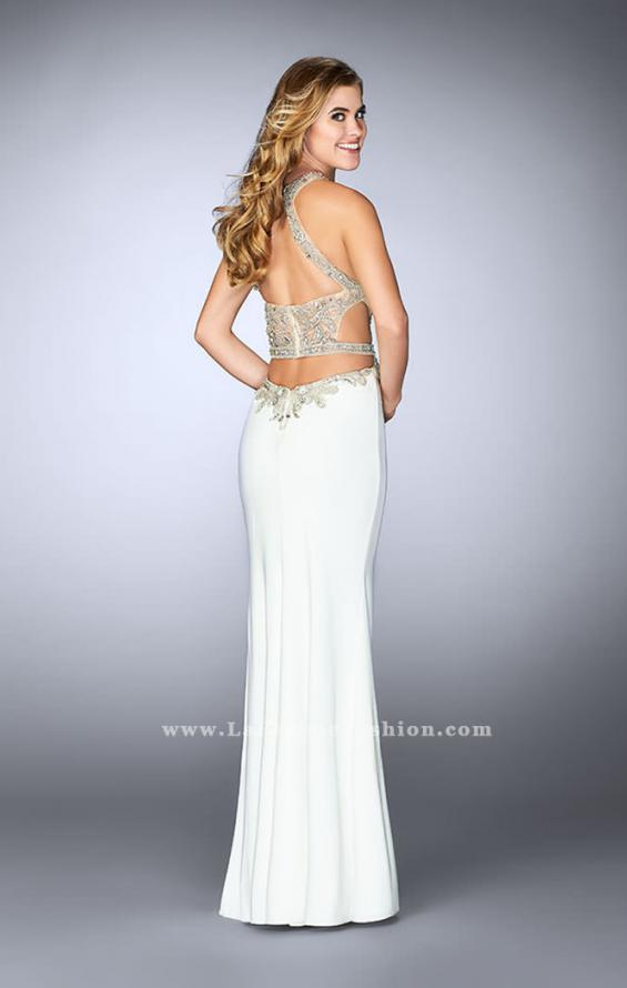 Picture of: Long Prom Dress with Sheer Beaded Top and Cut Outs, Style: 23852, Back Picture