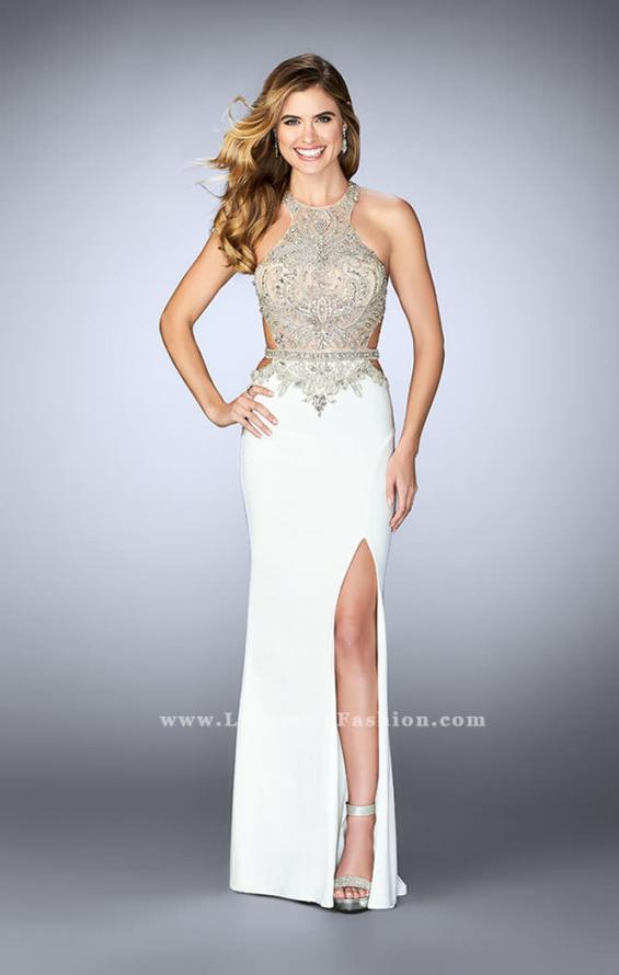 Picture of: Long Prom Dress with Sheer Beaded Top and Cut Outs, Style: 23852, Detail Picture 1